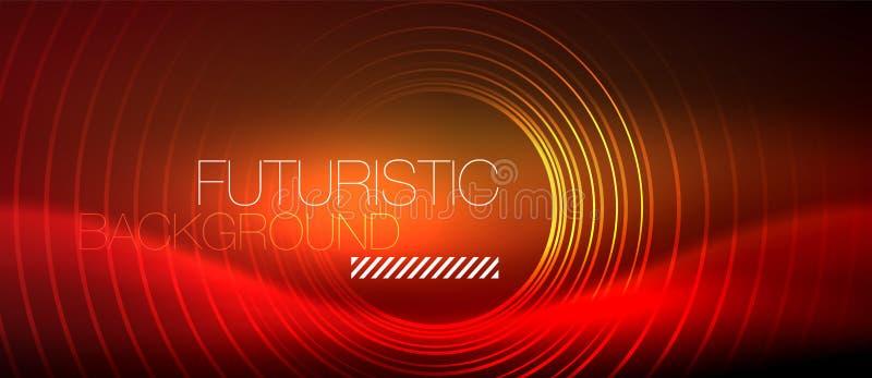 Neon glühendes techno zeichnet, High-Teche futuristische abstrakte Hintergrundschablone mit quadratischen Formen lizenzfreie abbildung