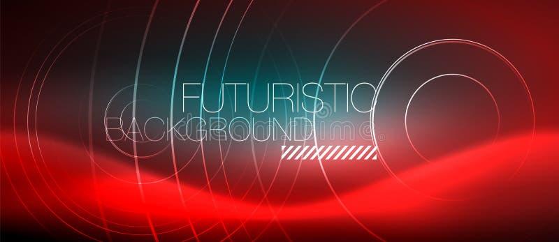 Neon glühendes techno zeichnet, High-Teche futuristische abstrakte Hintergrundschablone mit quadratischen Formen vektor abbildung