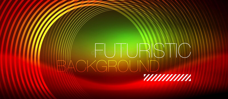 Neon glühendes techno zeichnet, High-Teche futuristische abstrakte Hintergrundschablone mit quadratischen Formen stock abbildung