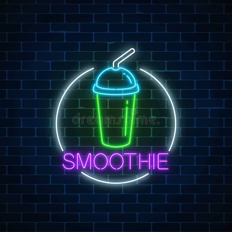 Neon gloeiend teken van smoothie in cirkelkader op een donkere bakstenen muurachtergrond Fastfood licht aanplakbordsymbool royalty-vrije illustratie