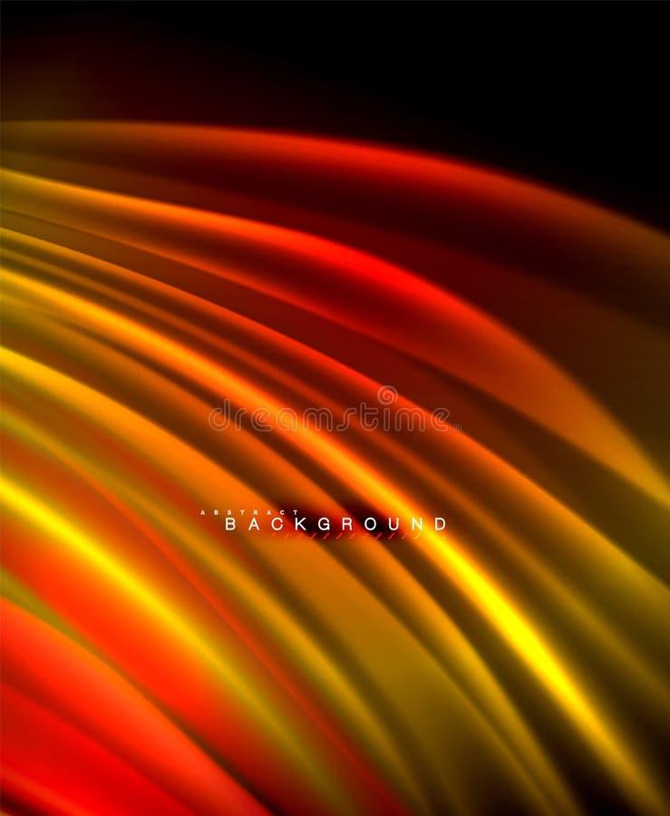 Neon gloeiende golf, magische energie en lichte motieachtergrond Vectorbehangmalplaatje stock illustratie