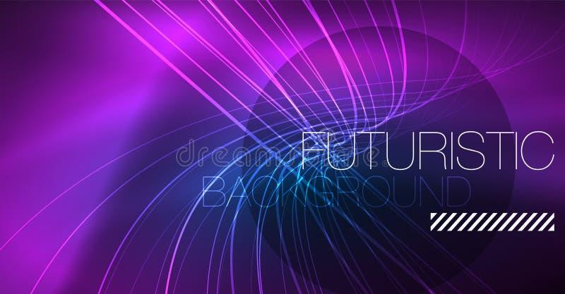 Neon gloeiende magische achtergrond, neonbanner, het behang van de nachthemel Magisch lichteffect Kerstmis abstract patroon vector illustratie