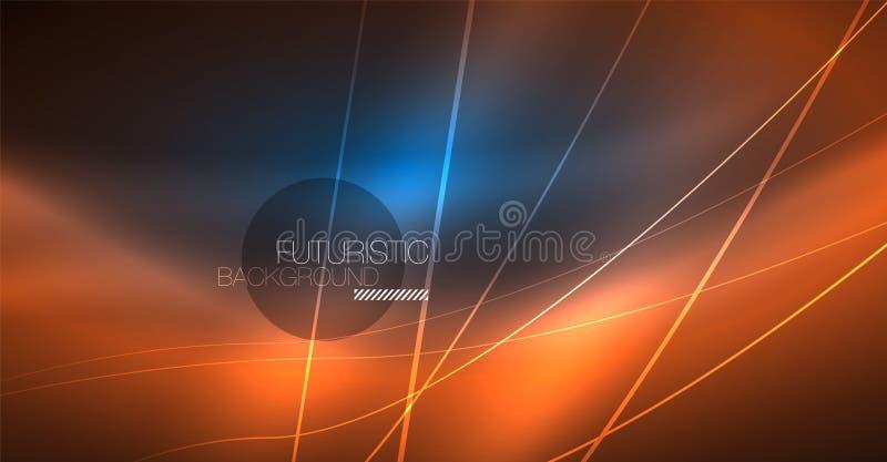 Neon gloeiende magische achtergrond, neonbanner, het behang van de nachthemel Magisch lichteffect Kerstmis abstract patroon stock illustratie