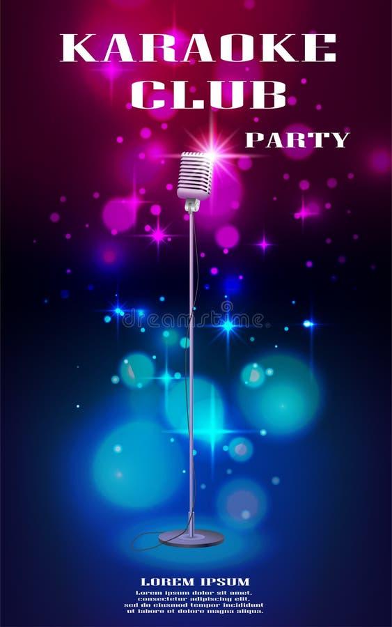 Neon gloeiende vlieger met retro microfoon en zachte bokeh Banner met lichteffecten voor nachtclub of karaokepartij royalty-vrije illustratie