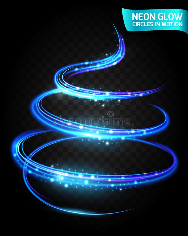 Neon Glow circles in motion blurred edges, magical glow tree, christmas colorful design. Abstract lights in a circular motion. stock illustration