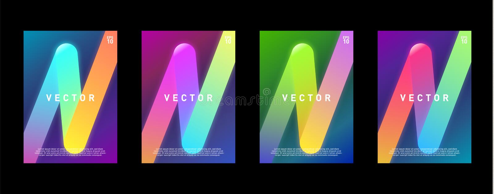 Neon glow colorful design template for brochure, cover, poster, flyer. Eps 10 royalty free illustration