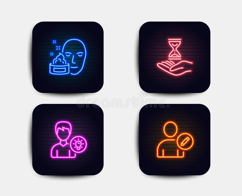 Face cream, Time hourglass and Person idea icons. Edit user sign. Gel, Sand watch, Lamp energy. Profile data. Vector. Neon glow lights. Set of Face cream, Time vector illustration