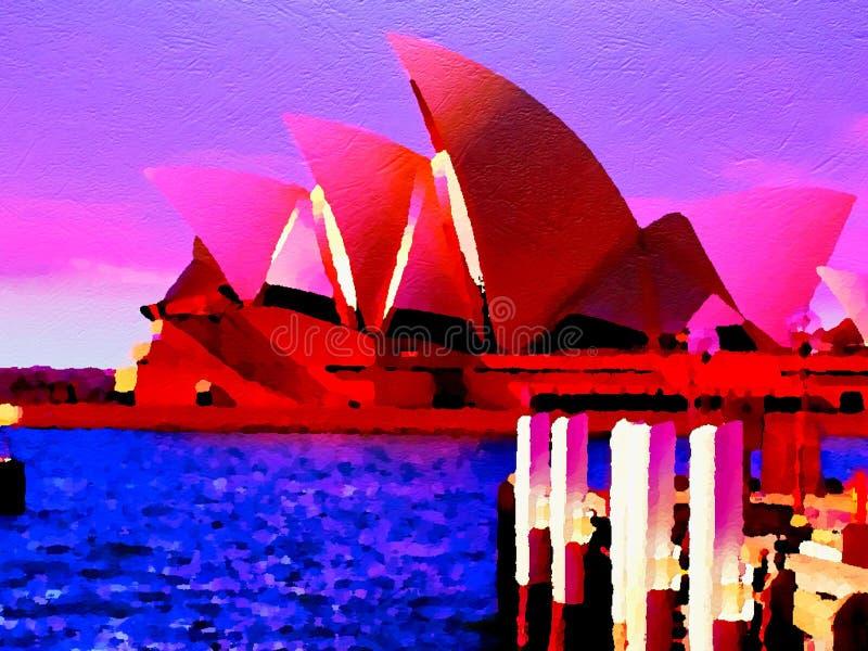 Neon Glow Sydney Opera House. Sydney Opera House pink purple painting view ocean art rainbow stock photo