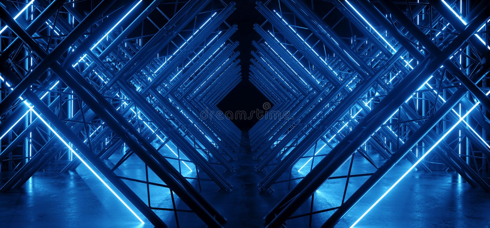Neon Glowing Blue Vibrant Sci Fi Futuristic Stage Podium Construction Metal Triangle Concrete Grunge Reflective Dark Night Virtual. Show Background Laser Tunnel royalty free illustration