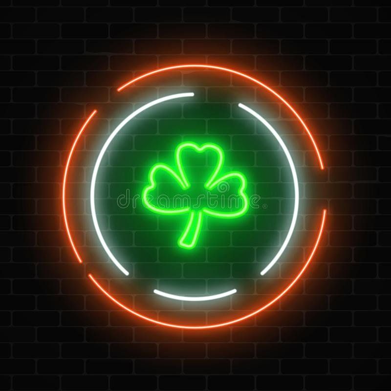 Neon Glowing Clover Leaf Sign. Green Shamrock As Irish National ...