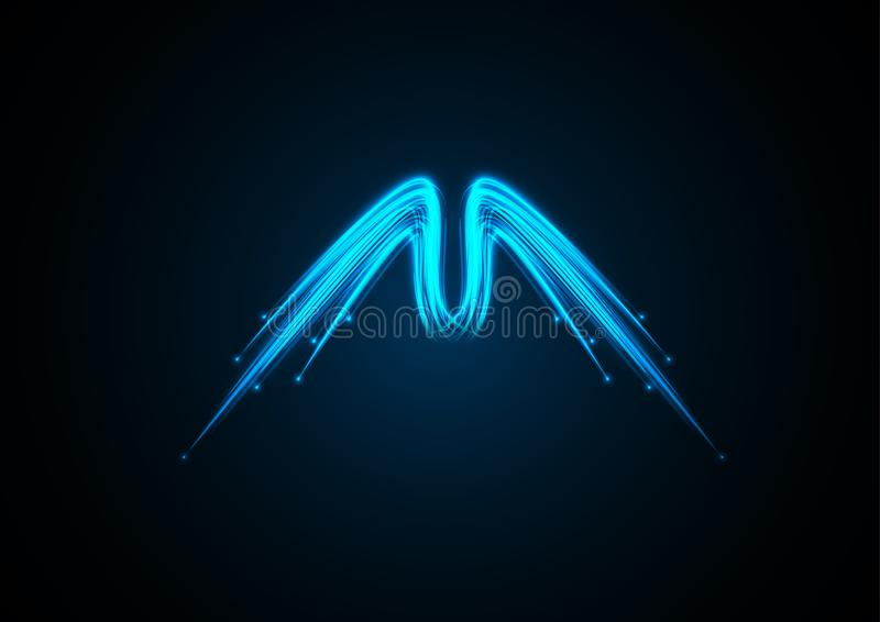 Blue branched neon angel wings stock image