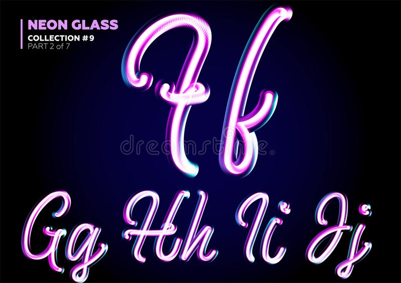 Neon Glowing 3D Typeset. Font Set of Glass Letters. Glossy Pink royalty free illustration