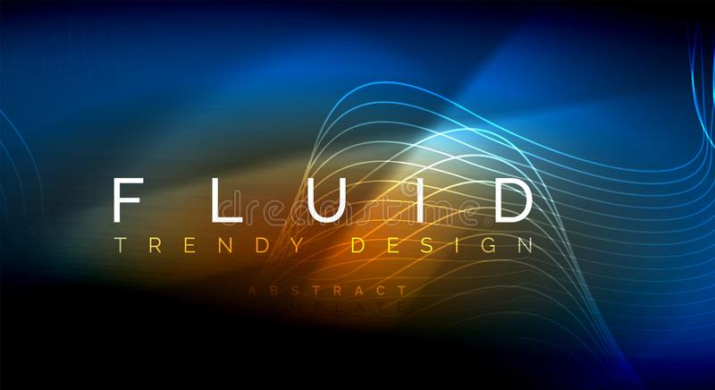 Neon glowing fluid wave lines, magic energy space light concept, abstract background wallpaper design, ripple texture. Neon glowing fluid wave lines, magic royalty free illustration