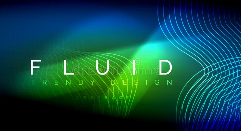 Neon glowing fluid wave lines, magic energy space light concept, abstract background wallpaper design, ripple texture. Neon glowing fluid wave lines, magic vector illustration