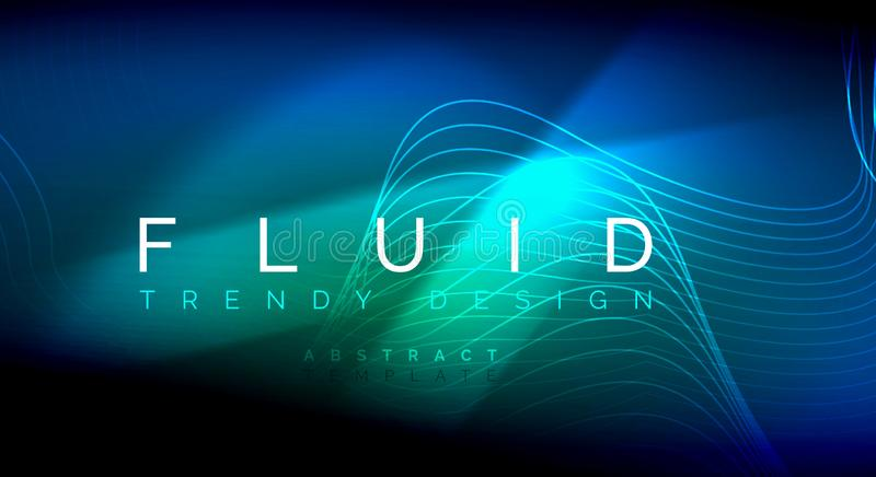Neon glowing fluid wave lines, magic energy space light concept, abstract background wallpaper design, ripple texture. Neon glowing fluid wave lines, magic stock illustration