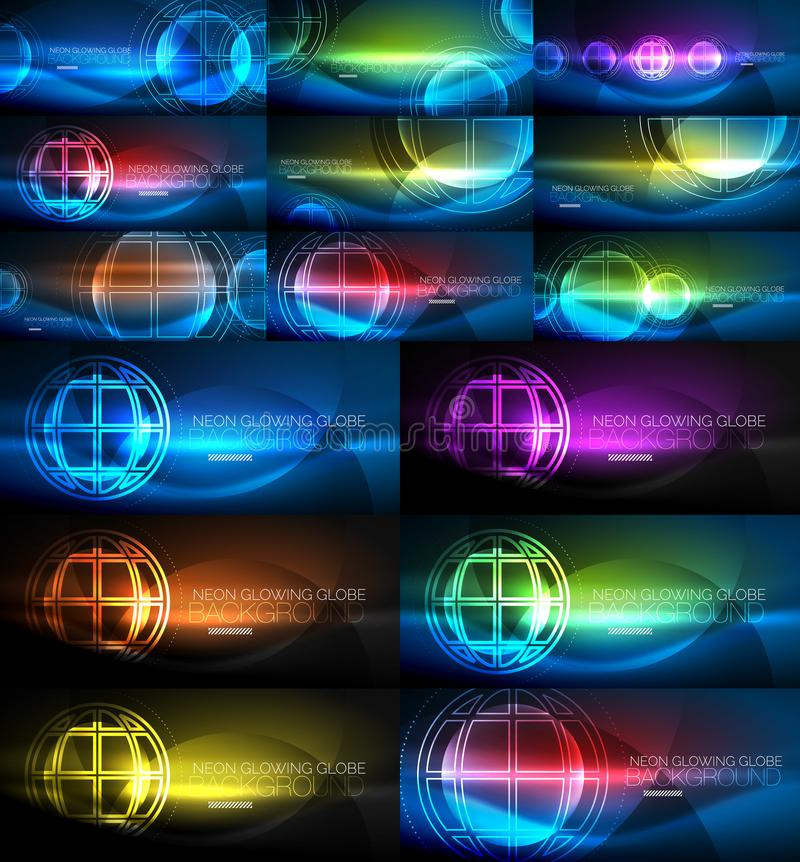 Neon glowing globe light abstract backgrounds collection, mega set of energy magic concept backgrounds. Vector illustration vector illustration