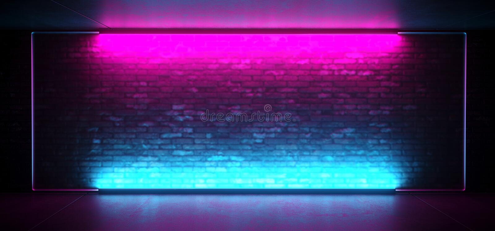 Neon Glowing Led Sci Fi Futuristic Retro Club Stage With Empty Lighted Purple Blue Frosted Glass Frame On Grunge Brick Wall. Concrete Floor Ceiling Reflections royalty free illustration