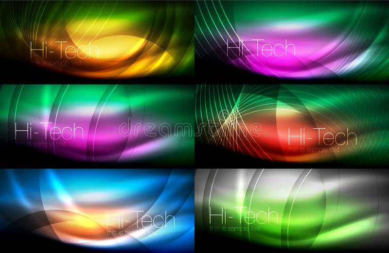 Neon glowing light abstract backgrounds collection, mega set of energy magic concept backgrounds. Vector illustration royalty free illustration