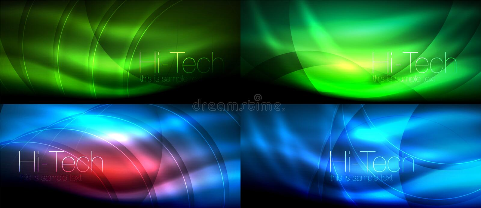 Neon glowing light abstract backgrounds collection, mega set of energy magic concept backgrounds. Vector illustration vector illustration