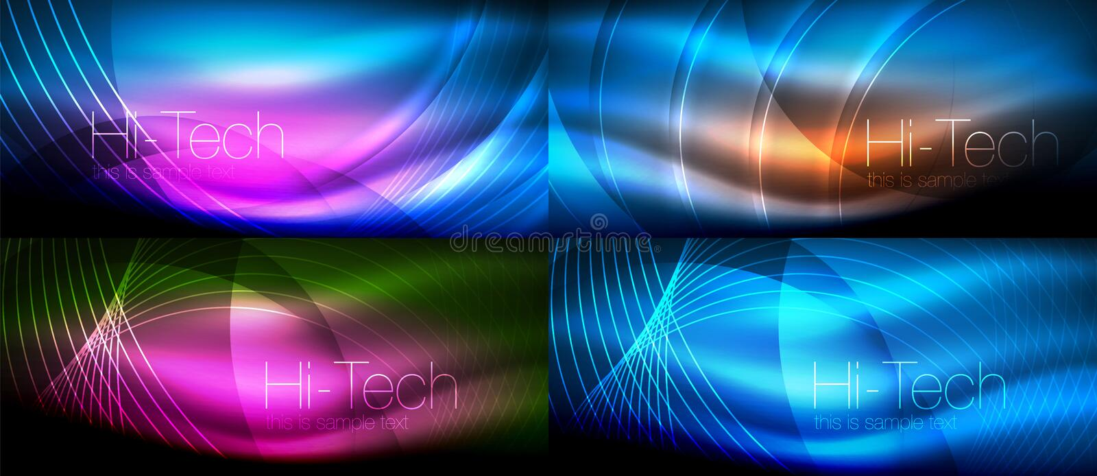 Neon glowing light abstract backgrounds collection, mega set of energy magic concept backgrounds. Vector illustration stock illustration