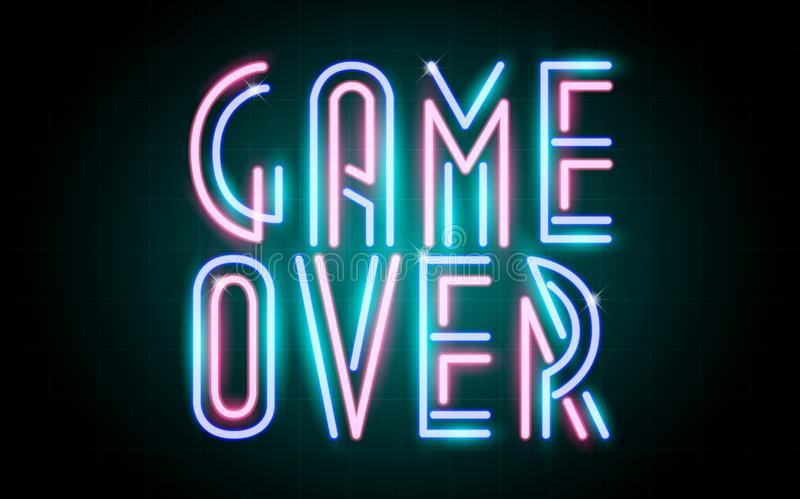 Neon glowing lines, game space light concept, game background wallpaper design, game over stock illustration