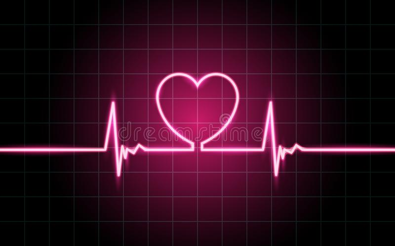 Neon glowing lines, Heartbeat concept. Lifeline background wallpaper design royalty free illustration