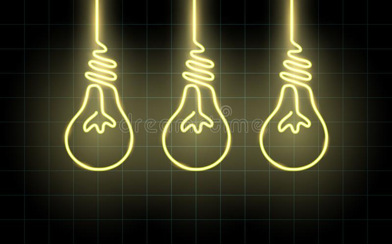 Neon glowing lines, light bulb concept, light bulb background design vector illustration