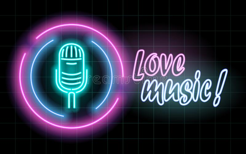 Neon glowing lines, love music concept, love music background design stock illustration