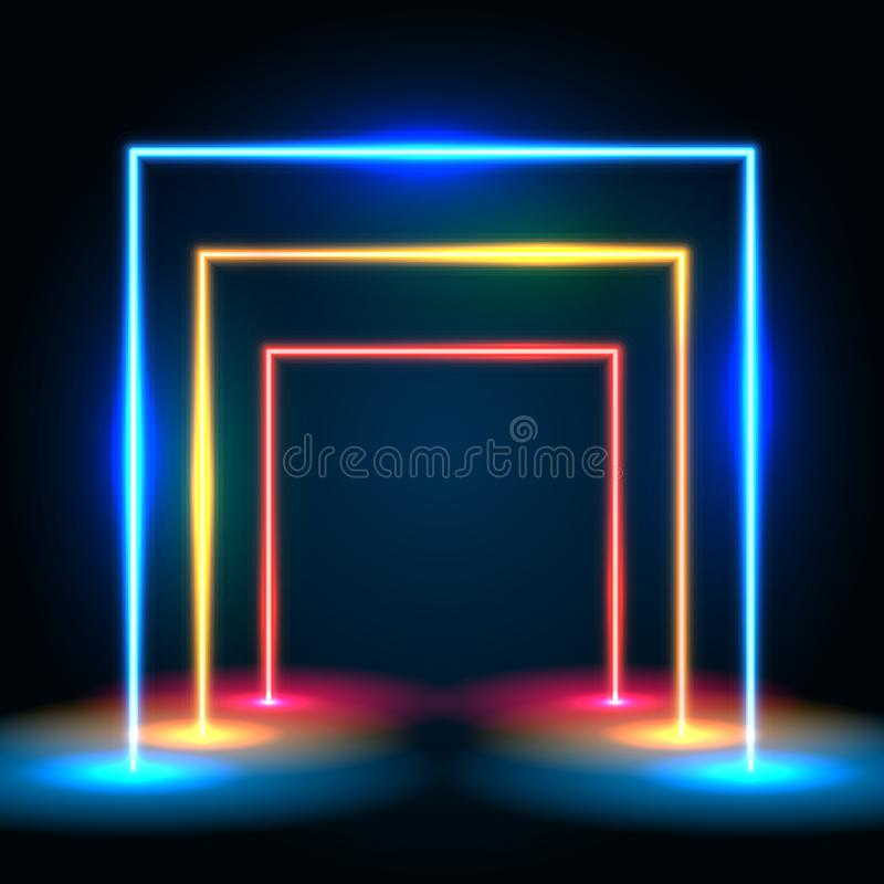 Neon glowing lines tunnel abstract background. Square portal concept. stock illustration