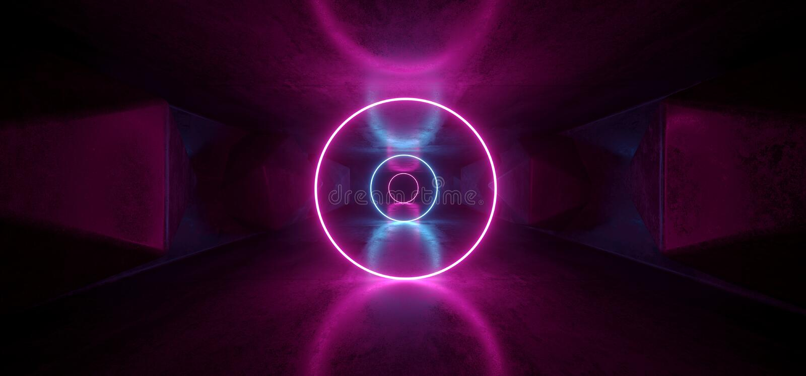 Neon Glowing Psychedelic Vibrant Cosmic Ultraviolet Fluorescent Luxurious Luminous Sci Fi Futuristic Retro Circle Lights Purple vector illustration