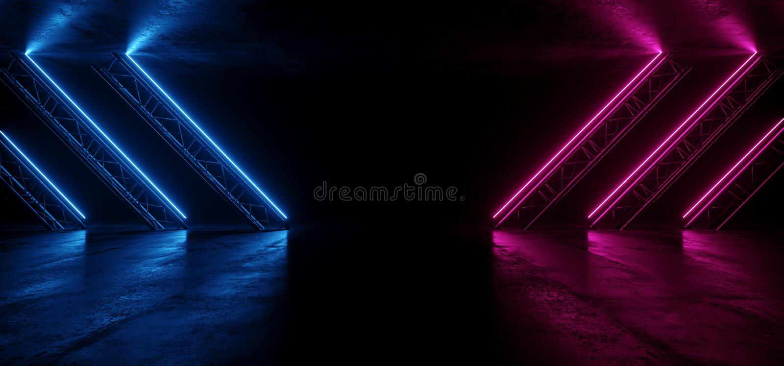 Neon Glowing Purple Blue Vibrant Sci Fi Futuristic Stage Podium Construction Metal Triangle Concrete Grunge Reflective Dark Night. Virtual Show Background Laser royalty free illustration