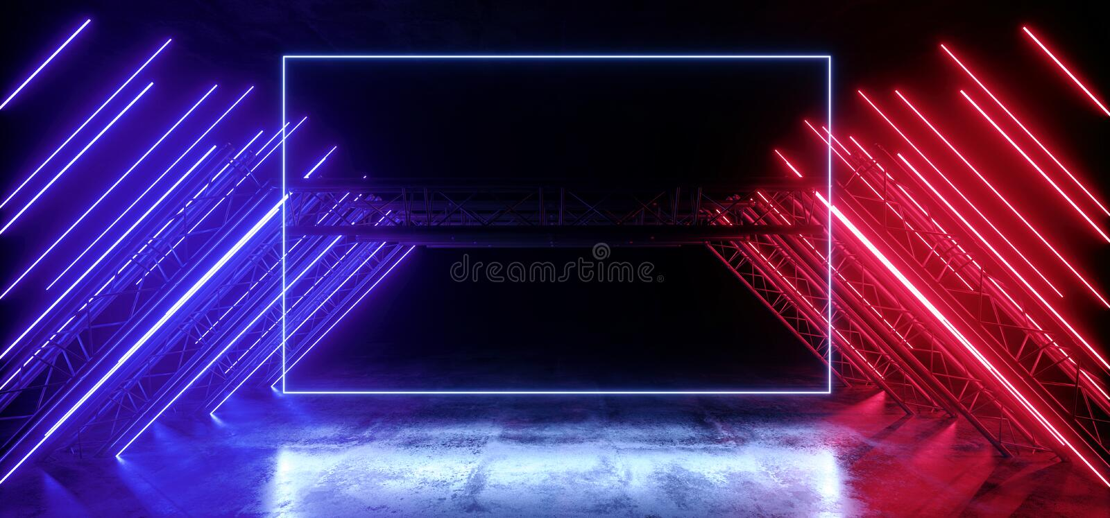 Neon Glowing Red Blue Violet Vibrant Sci Fi Futuristic Stage Podium Construction Metal Triangle Concrete Grunge Reflective Dark. Night Virtual Show Background royalty free illustration