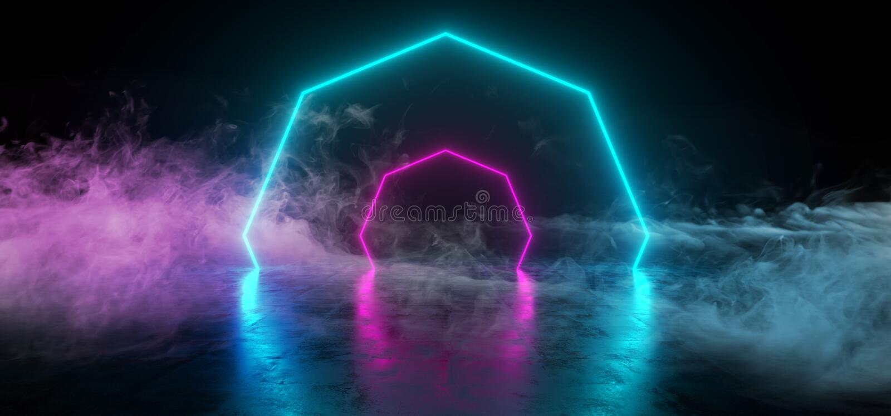 Neon GLowing Sci Fi Futurism Looking Retro Dance Lights Glowing Purple Ultraviolet Blue In Dark Reflective Concrete Grunge Room. Smoke And Fog Empty. 3D royalty free illustration