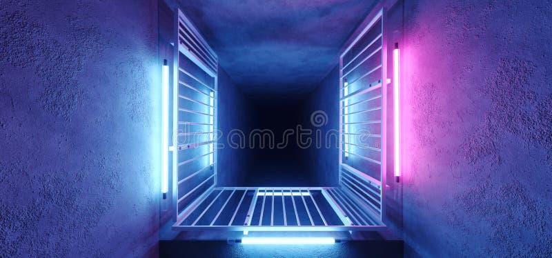 Neon Glowing Sci FI Futuristic Elegant Alien Modern Hi Tech Purple Pink Blue Rectangle Metal Structure Corridor Tunnel Grunge stock illustration