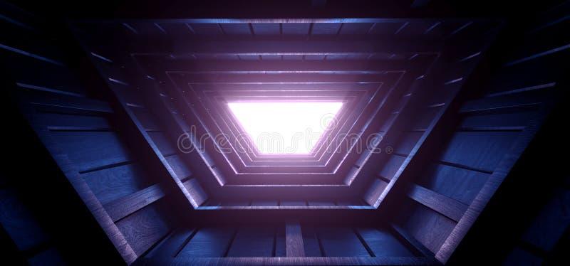 Neon Glowing Sci Fi Futuristic Purple Blue Nght Dark Moon Light Roof Tunnel Corridor Attic Led Light Vibrant Wood Planks Texture vektor illustrationer
