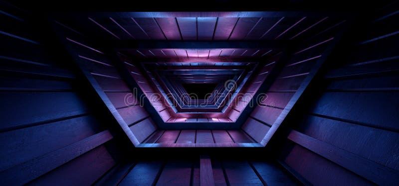 Neon Glowing Sci Fi Futuristic Purple Blue Nght Dark Moon Light Roof Tunnel Corridor Attic Led Light Vibrant Wood Planks Texture royaltyfri illustrationer