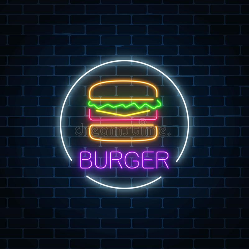 Neon glowing sign of burger in circle frame on a dark brick wall background. Fastfood light billboard symbol. royalty free illustration