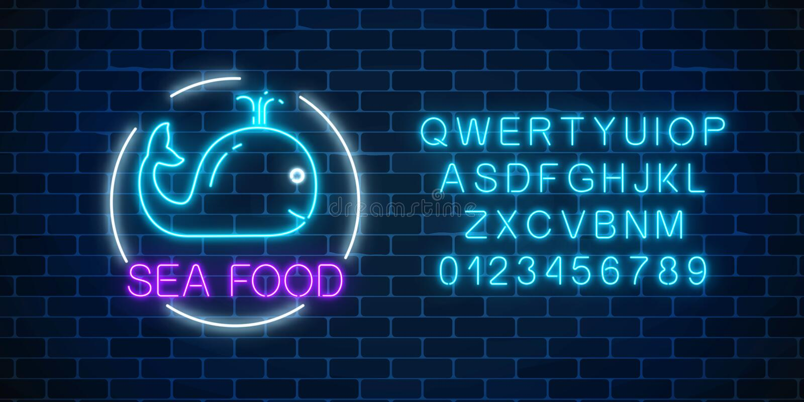 Neon glowing sign of sea food with blue whale in circle frame with alphabet on a dark brick wall background. Fastfood light royalty free illustration