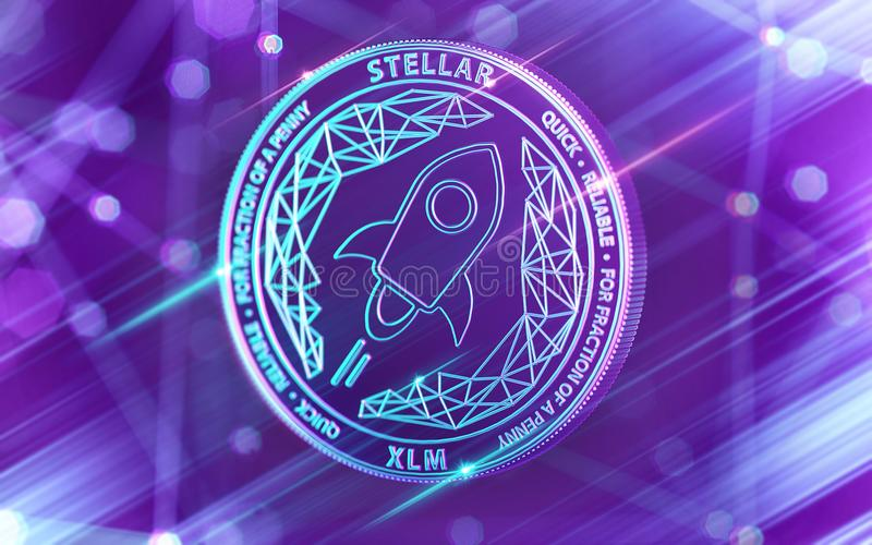 Neon glowing Stellar Lumens XLM coin in Ultra Violet colors with cryptocurrency blockchain nodes in blurry background. 3D render. Neon glowing Stellar Lumens XLM royalty free illustration