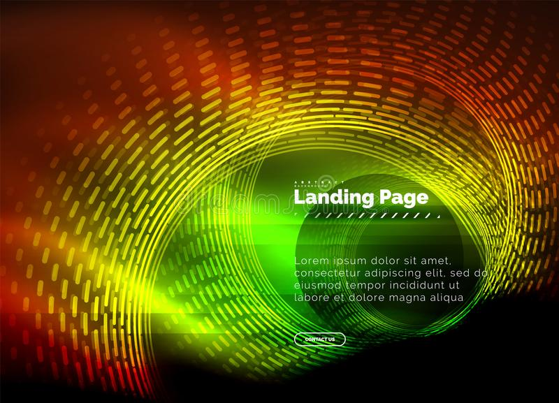 Neon glowing techno lines, hi-tech futuristic abstract background template with circles, landing page template royalty free illustration