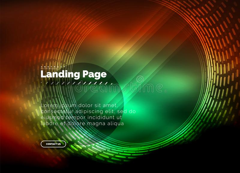Neon glowing techno lines, hi-tech futuristic abstract background template with circles, landing page template stock illustration