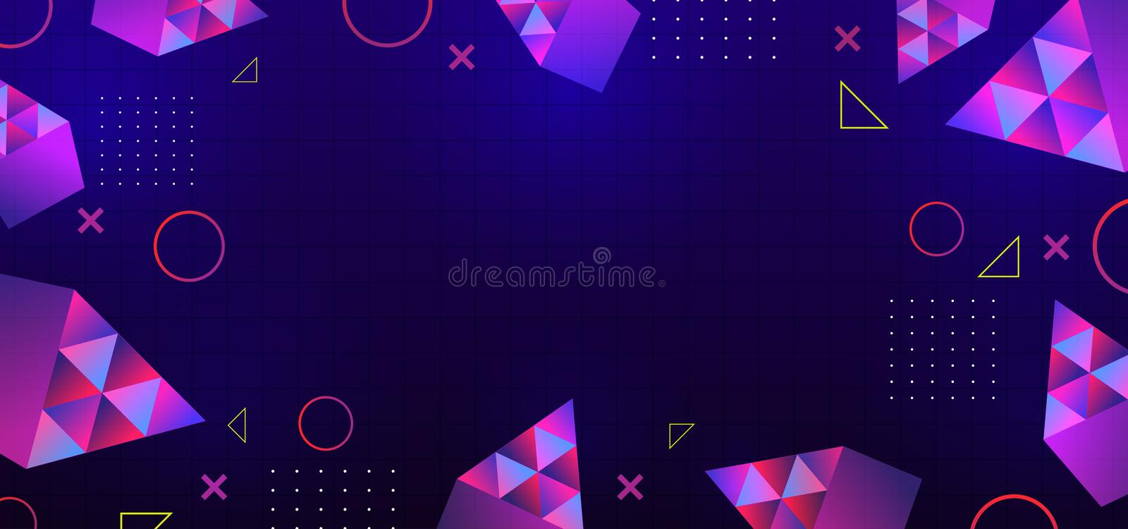 Neon glowing techno lines, hi-tech futuristic abstract background template with geometric shapes vector illustration royalty free illustration