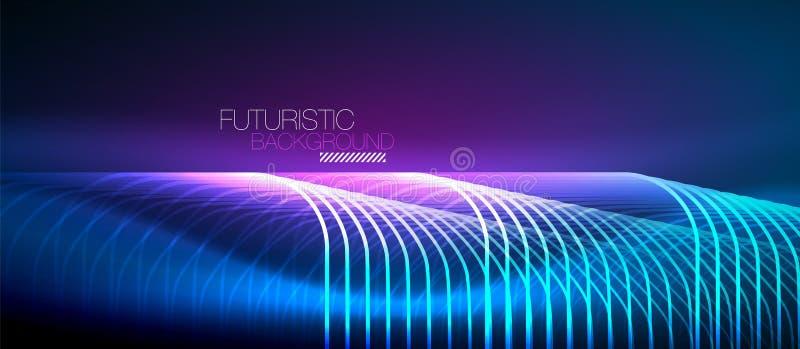 Neon glowing techno lines stock illustration