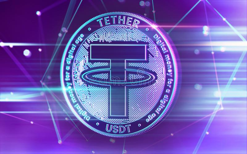 Neon glowing Tether USDT coin in Ultra Violet colors with cryptocurrency blockchain nodes in blurry background. 3D rendering. Neon glowing Tether USDT coin in vector illustration