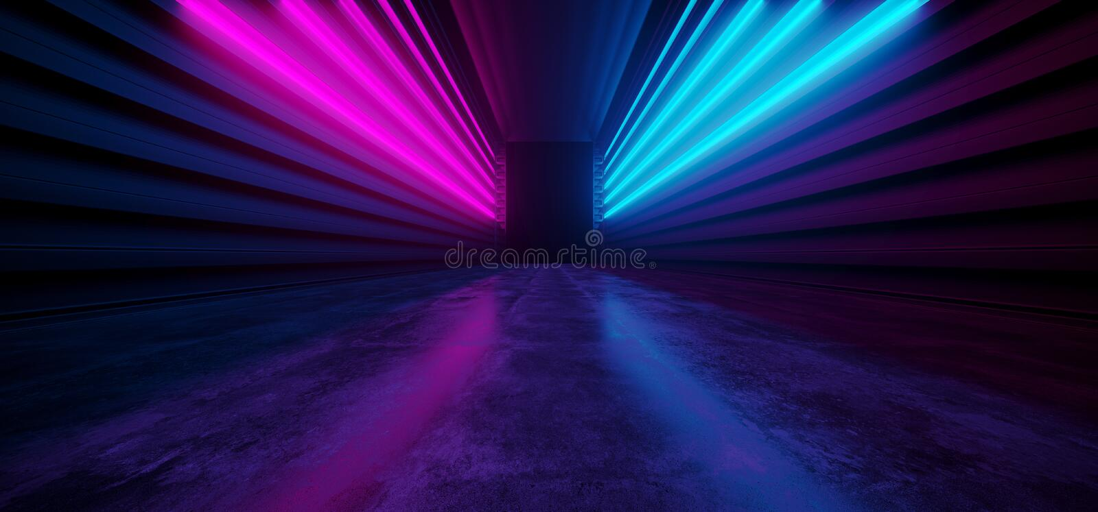 Neon Glowing Vibrant Sci Fi Futuristic Corridor Tunnel Purple Blue Pink Virtual Reality Dark Huge Hallway Entrance Concrete Grunge. Reflection Spaceship 3D vector illustration