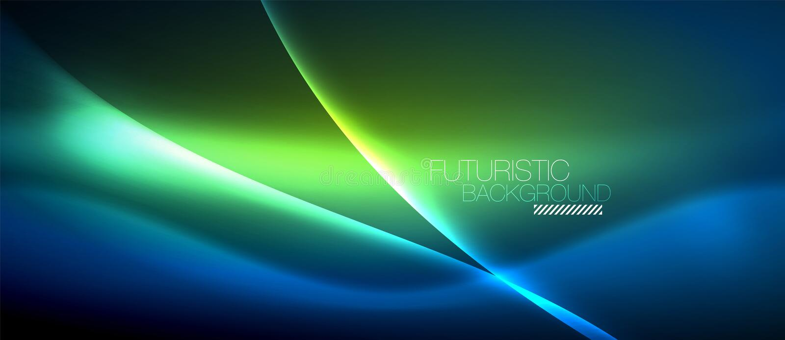 Neon glowing wave, magic energy and light motion background vector illustration