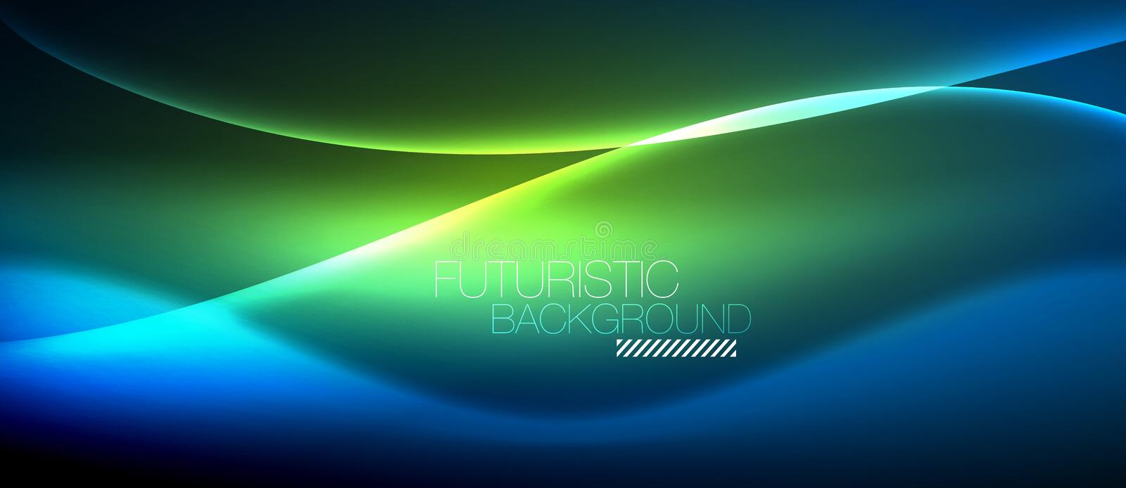 Neon glowing wave, magic energy and light motion background royalty free illustration