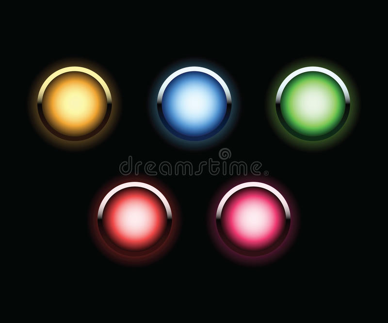 Neon glowing web buttons set royalty free stock photography