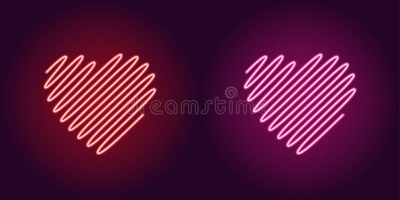 Neon golvend hart, gloeiend teken Het pictogram van toestellen vector illustratie