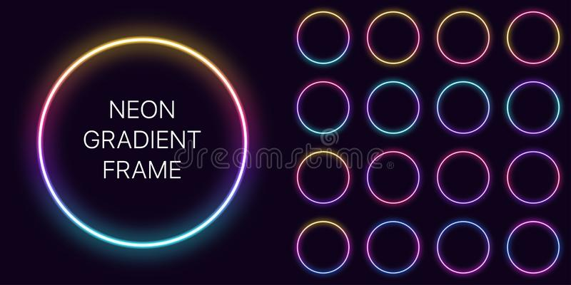 Neon gradient circle Frame with copy space. Templates set of Neon gradient round Border stock images